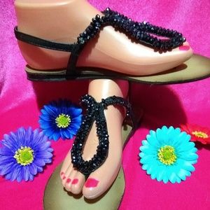 Shoes - Adorable Flat sandals wth Black Acrylic Beads!